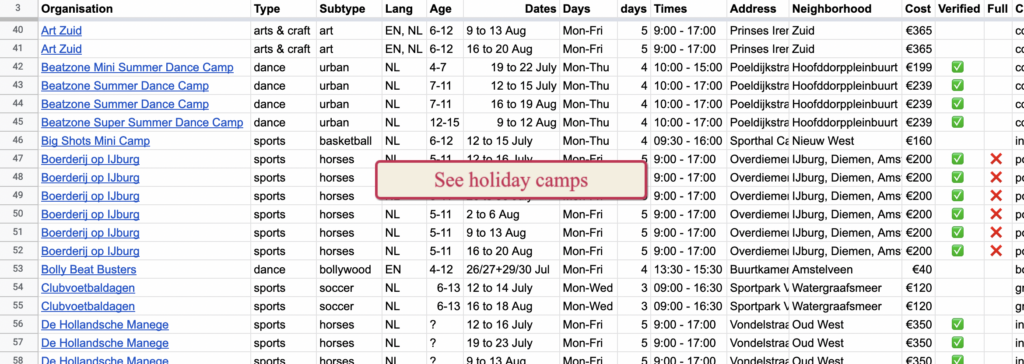 Vacation camps for kids in Amsterdam summer 2021